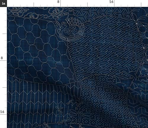 Sashiko Fabric - Sashiko Japanese Traditional Embroidery Sampler Quilt Origami Print on Fabric by The Yard - Satin for Sewing Lining Apparel Fashion Blankets Decor