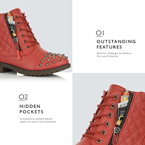 Quilted Hiking Ankle Pocket Red Boots Buckle Exclusive Punky Credit High Card Combat Up Women's DailyShoes Military Lace Uwxnz6IxXq
