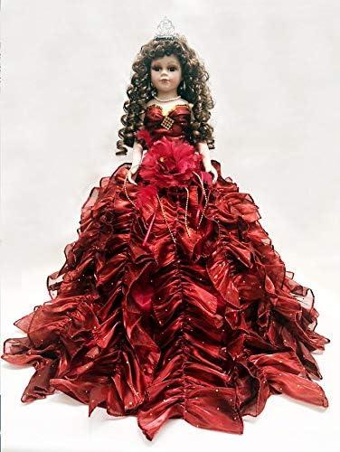 Jmisa 24 Umbrella Porcelain Dolls Quince Anos Burgundy