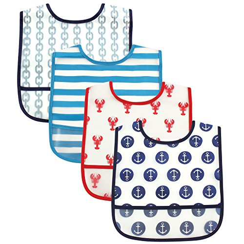 Luvable Friends 4 Piece Waterproof Bibs with Crumb Catcher, Nautical