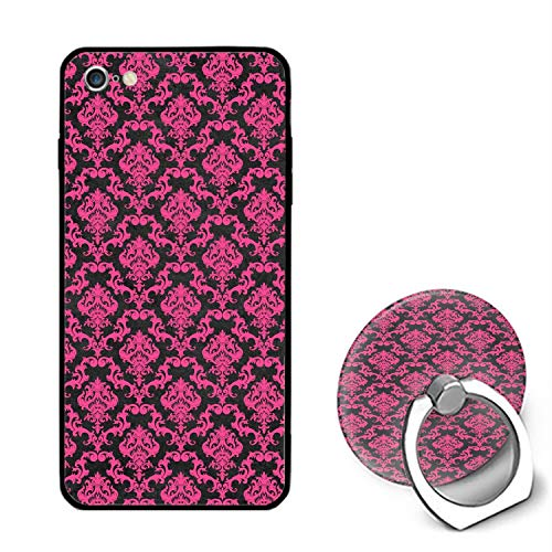 Compatible with iPhone 6s Case Pink Black Damask iPhone 6/6s 4.7 inch Case, Non Slip Drop Protection Cover with 360 Rotating Ring Phone Grip Stand Holder