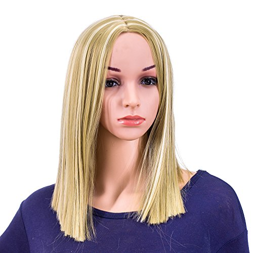 (SWACC 14-Inch Short Straight Middle Part Hair Wig Medium Length Synthetic Heat Resistant Wigs for Women with Wig Cap (Dirty Blonde)
