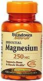 Sundown Naturals Magnesium, 250 mg, 100 Caplets (Pack of 6)