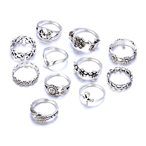 UHANGETH 11pcs Retro Rings Hollow Carved Flowers Joint Knuckle Rings Sets