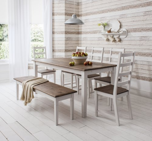 Terrific Noa And Nani Canterbury Dining Table With 5 Chairs And 1 Bench Dark Pine And White Ibusinesslaw Wood Chair Design Ideas Ibusinesslaworg
