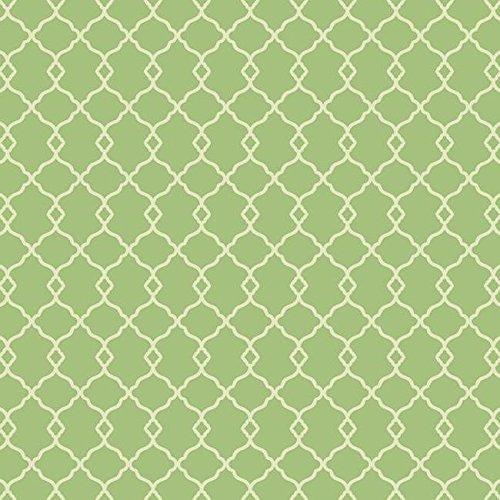 (York Wallcoverings WM2573 Williamsburg Chippendale Fret Wallpaper, Bright Green/Cream )