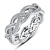 F&F jewel Sterling Silver Sparkling BRAIDED Pave Ring Fine Jewelry for Women Wedding Rings