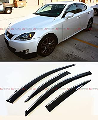 Fits for 2006-2013 Lexus IS250 IS350 is-F Slim VIP Style Clip On Smoke  Tinted Window Visor W/Chrome Trim