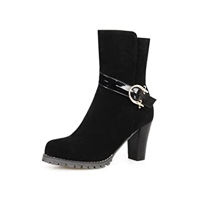 Women's Buckle Round Closed Toe High-Heels Imitated Suede Low-top Boots