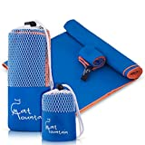 """Compact Quick Dry Microfiber Sport Towel XL (60""""X30"""") - Best for Gym, Fitness, Running, Workout, Yoga, Camping & Travel - Free Bonus Face Towel with Separate Mesh Bags"""