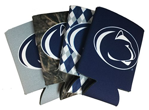 Jay Mac Sports NCAA 4-Pack Multi Color Sublimated Neoprene Beverage 12oz Insulated Can Hugger (Penn State Nittany Lions)