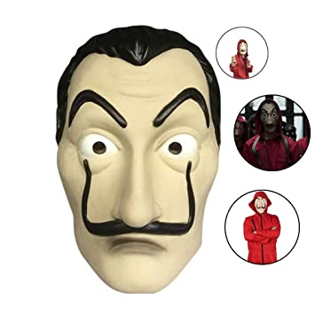 Máscara La Casa De Papel, PVC Cosplay Costume Halloween Dali Mask, para Halloween Pascua Navidad Masquerade Bar Decoración Festival, Etc.
