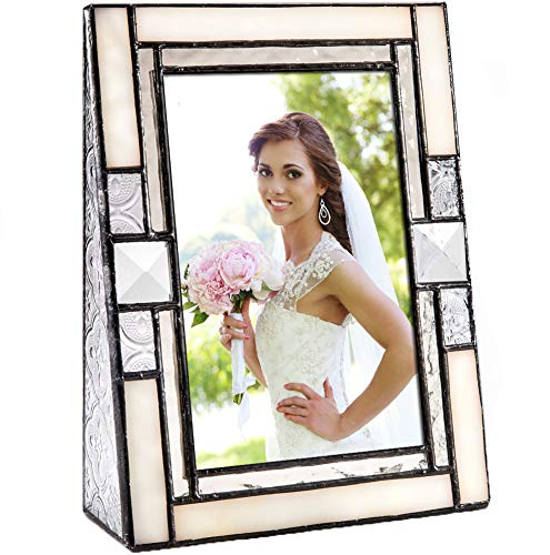 (Wedding Picture Frame Ivory Opalescent Stained Glass Table Top 4x6 Horizontal Photo Anniversary Engagement J Devlin Pic 407-46V)