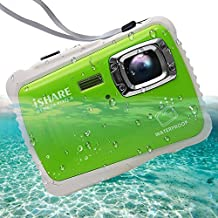 """iSHARE Waterproof Kids Camera,21MP HD Underwater Digital Camera for Kids with 2.0"""" LCD, 8X Digital Zoom, Flash and Mic for Girls/Boys (Green)…"""