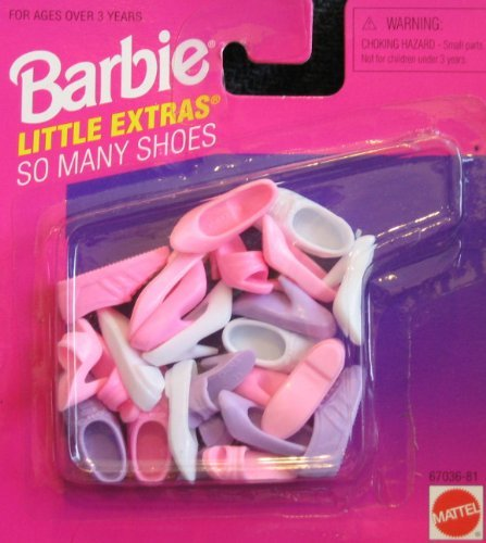 - Barbie Little Extras So Many Shoes Pack w Pink, White & Mauve (1996 Arcotoys, Mattel)
