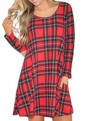 Arainlo Women Casual Long Sleeve Round Neck Checkered Plaid Swing A-Line Tshirt Mini Dress