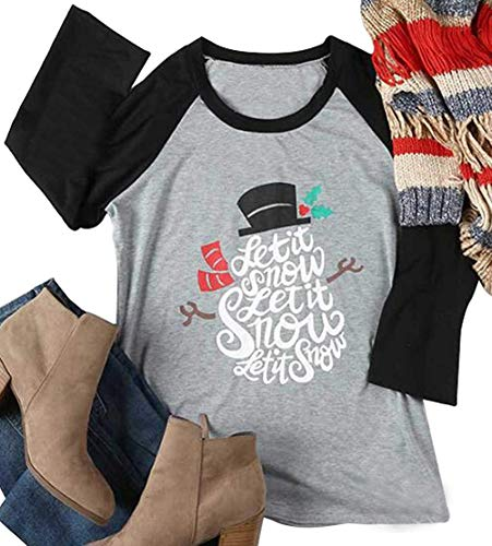(Let It Snow Christmas Holiday Snowman T-Shirt Womens Funny O-Neck Tops Raglan Size XL)