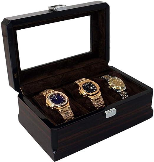 DLYGH Reloj de Almacenamiento 3 dígitos Pintura Reloj Caja de Almacenamiento de Caja de exhibición de Recuerdos Altos estándares Caja de Madera del Reloj (Color: Negro, tamaño: S): Amazon.es: Hogar