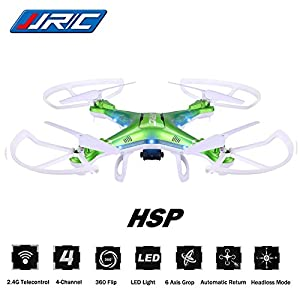 Megadream JJRC H5P Gyro 2.4 Telecontrol 3D Roll 6 Axis Grop RTF Drone LED Lights Headless Mode 2.0MP HD Camera 4-Channel 360 Flip Automatic Return 1100mAh RC Quadcopter from Megadream