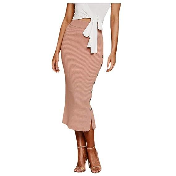 Shenye Falda de lápiz, Falda de Oficina para Mujer, Falda de Punto ...