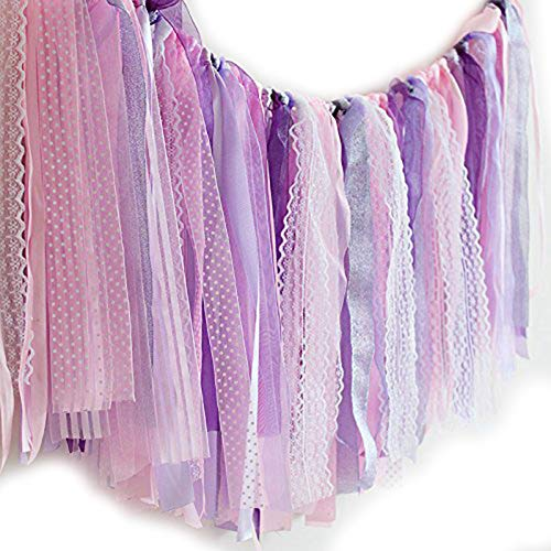 - Hangnuo Ribbon Tassel Garland Preassembled Handmade Fabric Banner Hanging Decor for Wedding Baby Shower Gender Reveal Party Photography Backdrop, Purple Lace