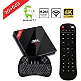 [Powerful 3GB / 64 GB] Android 7.1 TV Box Wireless Backlit Keyboard, EstgoSZ Smart Google TV Box 3G/64G Amlogic S912 Octa Core 64 bits Dual Band WiFi 1000M LAN, 2018 Top Android Tv Box