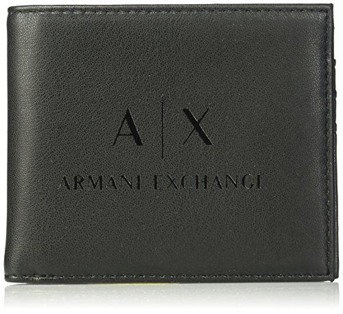Armani Exchange Men's Bi Fold Credit Card Wallet Accessory, -black/black, TU