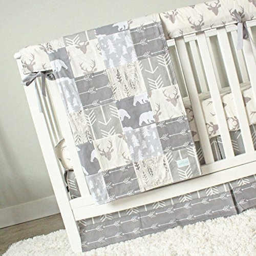 All Grey 4 Piece Crib Bedding Set