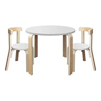 New Modern Stylish Kids Table Chairs Round Wooden Play Set In White