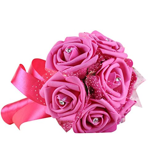 Pink Rose Bouquet Hot (Vibola® Artifical Rose Flowers Crystal wedding bouquet Bridesmaid artificial wedding bouquets flower rose bridal bouquet (Hot Pink))