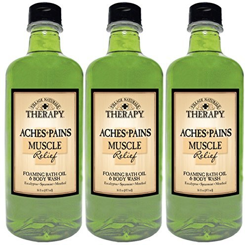 Village Naturals Therapy Aches and Pains Muscle Relief Foaming Bath Oil and Body Wash 16oz (Muscle Therapy Gel)