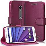Vena for Motorola Moto G (3rd Gen, 2015) Wallet Case [vSuit] Draw Bench PU Leather Snap Case Cover with [Card Pockets] for Motorola Moto G (3rd Gen, 2015) (Burgundy Red)