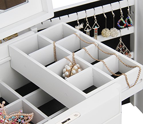 BELLAMORE GIFT Large Wooden Jewelry Box Armoire Watch Storage Case Organizer for Girls (White) by BELLAMORE GIFT (Image #6)