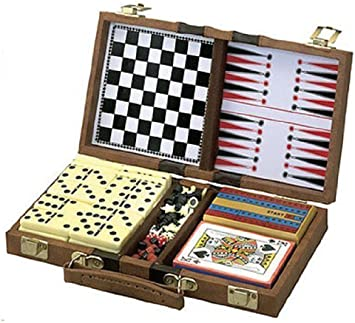 Cribbage Dominoes /& Cards 6 In 1 Travel Game Set Chess Backgammon Checkers