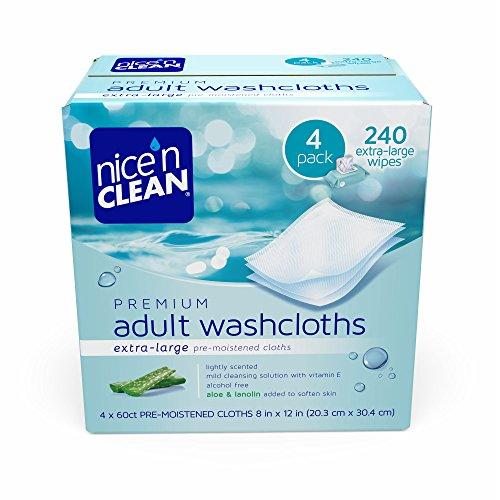 Premium Premoistened Adult Washcloths (Nice 'n Clean Premium Adult Pre-Moistened Washcloths, 4 pk./60 ct. J112PT)