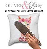 Personalized Llama Pillow Rose Gold Mermaid Pillow Personalized Mermaid Pillow Sequin Changing Pillow Personalized Pillow