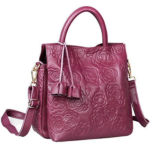 Embossed Bag (New Arrival Floral Embossed Handbags Crossbody Bags for Women Leather Satchel Purse by Jack&Chris,WB508 (Purple))