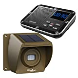 Solar Driveway Alarm Wireless Outside 1800ft Range, Outdoor Motion Sensor & Detector Driveway Alert System with Rechargeable Battery/Weatherproof/Mute Mode(1&1-Brown)