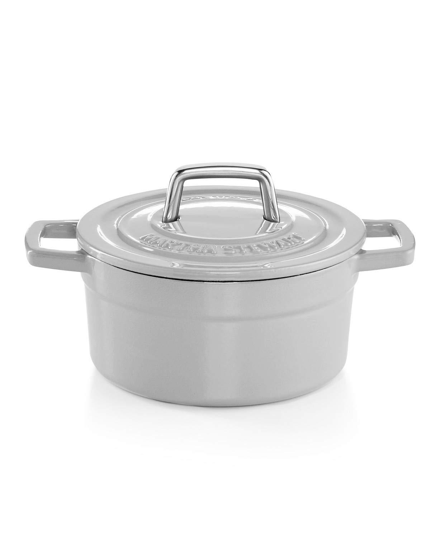 Martha Stewart Collection Enameled Cast Iron 2 Qt. Round Casserole-Oyster grey