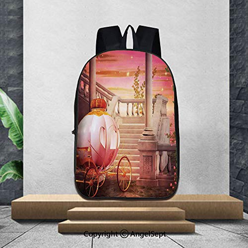 Large capacity school backpack,Kids BedroomFantasy Fairy Tale Princess Palace Carriage Magical Starry Night Art Print Decorative,16.5