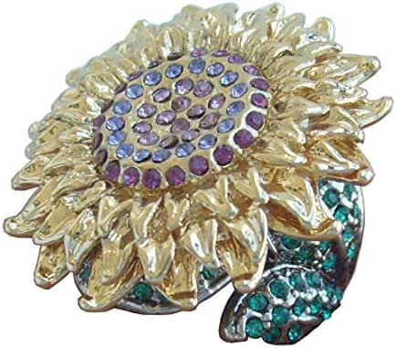 Sindary Beautiful Purple Green Austrian Crystal Sunflower Cocktail Ring
