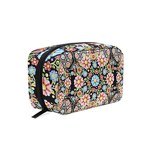 Cosmetic Bag Portable and Suitable for Travel Millefiori Rosette Make Up bag with Zipper Pencil Bag Pouch ()