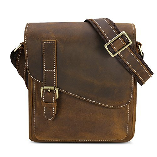 4f545de3093 Kattee Small Leather Messenger Bag, Mens Crossbody Shoulder Bag Dark Brown.  ‹ ›