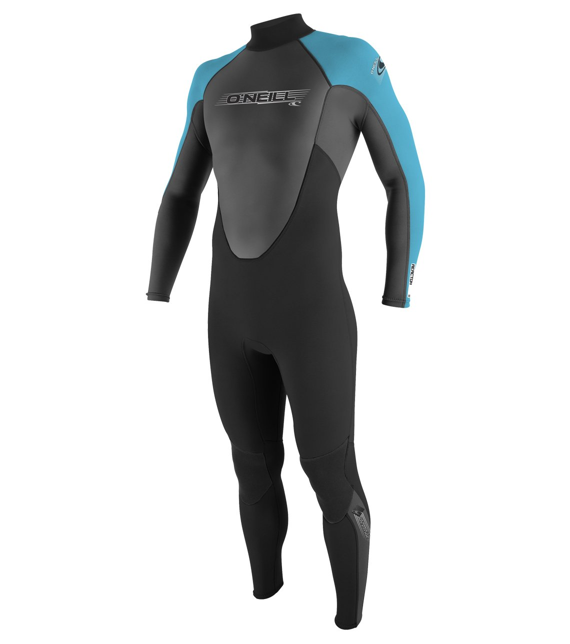 O'Neill Youth Reactor 3/2mm Back Zip Full Wetsuit, Black/Graphite/Turquoise, 10