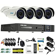 OWSOO 4CH AHD 1080N/720P 1500TVL CCTV Surveillance DVR Security System HDMI P2P Cloud Onvif Network Digital Video Recorder + 4720P Outdoor/Indoor Infrared Bullet Camera + 460ft Cable support IR-CUT