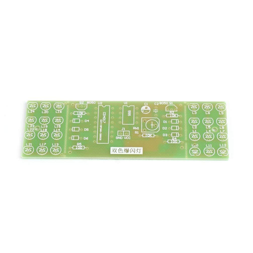 CD4017 Rojo Azul Color Doble Luces Intermitentes Kit de Tablero Pr/áctica estrobosc/ópica Aprendizaje Kits DIY M/ódulo de Suite electr/ónica NE555 Verde