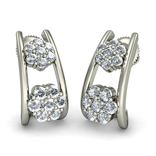18 K Or Blanc 0,49 CT TW Round-cut-diamond (IJ | SI) Boucles d'oreilles créoles