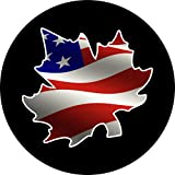 America Flag inside Canada Leaf Spare Tire Cover for 205/75R14 Jeep RV Camper VW Trailer etc(Select popular sizes in drop down menu or contact us-ALL SIZES AVAILABLE)