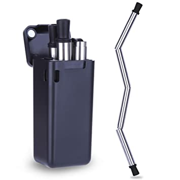 Blue 1 Fingertoys Stainless Steel Metal Straws Collapsible Straw Reusable Food-Grade Folding Drinking Straws Keychain with Cleaning Brush