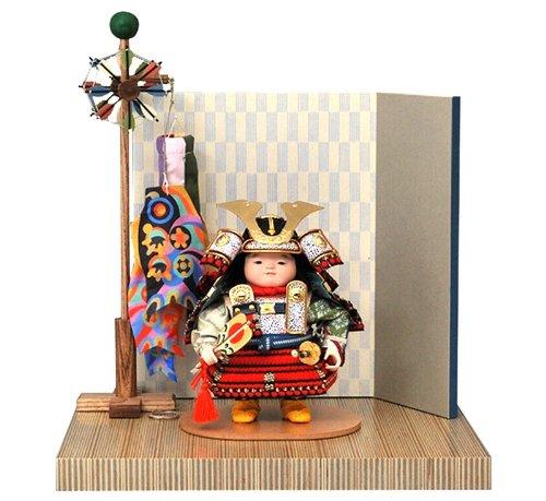 五月人形 幸一光 松崎人形 子供大将飾り 平飾り 龍平 りゅうへい 黒小札 正絹 赤糸威 ペーパーウッド飾台 片袖二曲屏風 鯉幟付 h275-koi-5040 B00IJQA75A